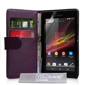 Sony Xperia SP Tasche Lila PU Leder Brieftasche Hülle