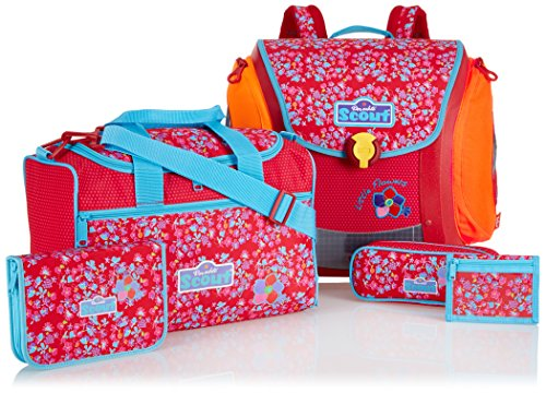 Scout Schulranzen-Set Basic Mega Set 1 5 tlg Little Flowers 97 cm Rot 70500729000