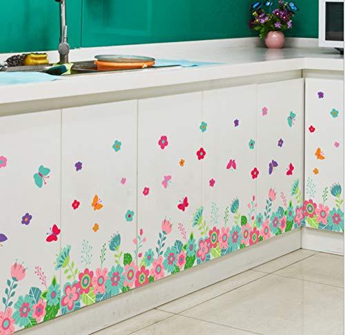 Meaosy Bunte Blumen Schmetterling Wandtattoo Wand Border Sockelleiste Aufkleber Kunst Schrank Kühlschrank Witwe Decor Wandbild Poster