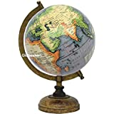 Globeskart Educational/Antique Globe With Brass Antique Arc And Wooden Base / World Globe / Home Decor / Office Decor / Gift Item / 8 Inches (Grey Green Multicolour)
