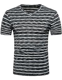 Cinnamou Hombre verano Camiseta polo casual Pullover manga corta estampado Raya Top blusa acfT0LMX