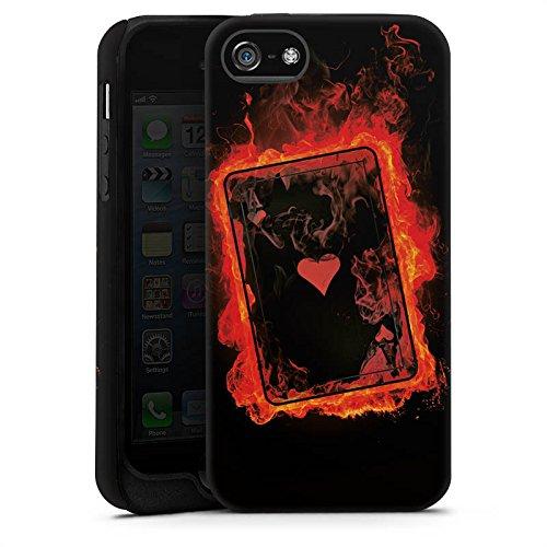 Apple iPhone 5 Housse Étui Silicone Coque Protection Ass C½ur Cartes Cas Tough terne