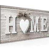 Bilder Home Herz Wandbild Vlies - Leinwand Bild XXL Format Wandbilder Wohnzimmer Wohnung Deko Kunstdrucke Braun 1 Teilig - MADE IN GERMANY - Fertig zum Aufhängen 504412a