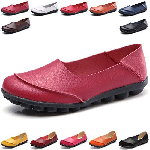 Leder Flache Schuhe (Hishoes Damen Casual Mokassin Leder Loafers Fahren Flache Schuhe)