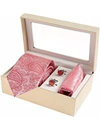 Sir Michele Designer Pink Micro Silk Tie, Pocketsquare and Cufflink Set for Men (Pack of 3)