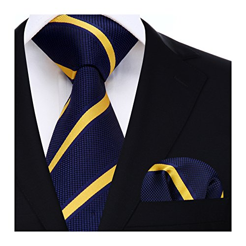 HISDERN Matrimonio righe Cravatta Fazzoletto Cravatta da uomo & Pocket Square Set