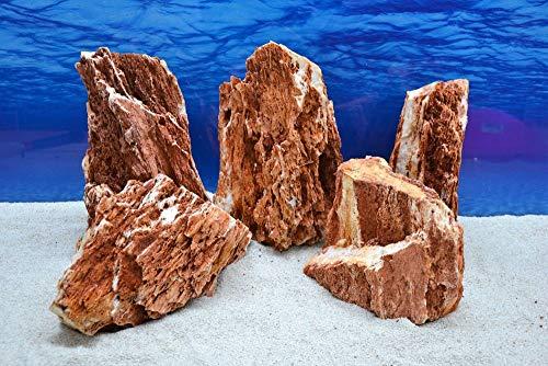 Pro Stein (Pro Stein Aquarium Deko Samurai rot braun Laub Natursteine 4,5-5,5 Kg Felsen Nr.56 Pagode Dekoration Aquascaping)