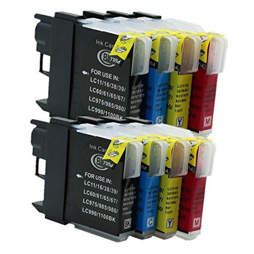No-Name Kompatibel Ersatz 8Pack 2Set LC11LC16LC65LC61LC67Tintenpatronen für Brother DCP365CN DCP375CW DCP385C dcp390cn DCP395CN DCP535CN Inkjet Drucker (2Schwarz, 2Cyan, 2Magenta, 2Gelb) - Tintenpatronen Lc61 Brother