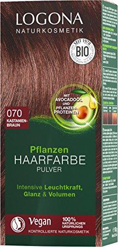 LOGONA Naturkosmetik Pflanzen-Haarfarbe Pulver 070 Kastanienbraun, Mit Avocadoöl, Vegan & Natürlich, Braune Natur-Haarfarbe mit Henna, Coloration, 100g