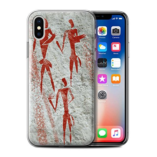 Stuff4 Gel TPU Hülle / Case für Apple iPhone X/10 / Tiere/Braun Muster / Höhlenmalerei Kollektion Sammler/Rot