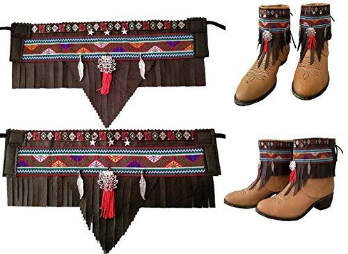 Cover Stiefel Ethnisch Land Breite Brown Nenufar und rote Quaste. Handgefertigt Kunstleder benutzerdefinierte Farbe in Optionen