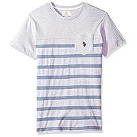 U.S. Polo Assn. Men's Short Sleeve Crew Neck Striped T-Shirt, Light Heather Gray FKLM, L
