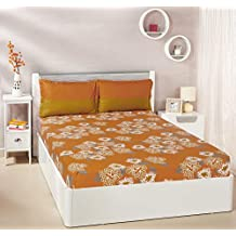 Amazon Brand - Solimo Floral Flakes 144 TC 100% Cotton Double Bedsheet with 2 Pillow Covers, Orange