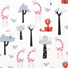 Tissu bio Copenhagen Print Factory blanc, arbres, aimaux, girafes roses