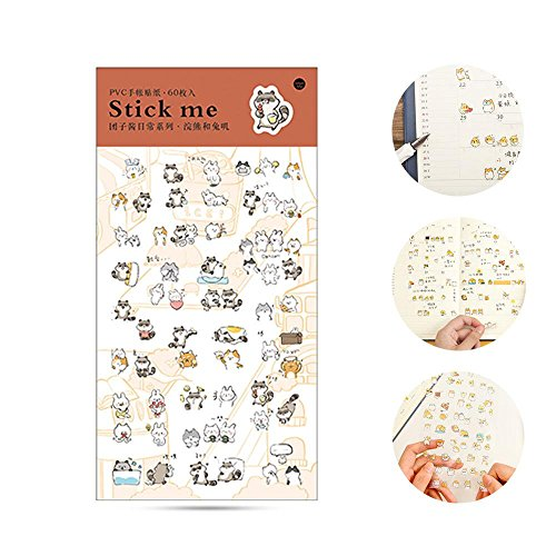 Aolvo Ephemera Pack (60PCS), Kawaii Japanischer Stil DIY Aufkleber Deko Sticker Kollektion für Scrapbooking, Kalender, Kunst, Kinder DIY Handwerk (19* 9,5* 0,5cm) Raccoon and Rabbit
