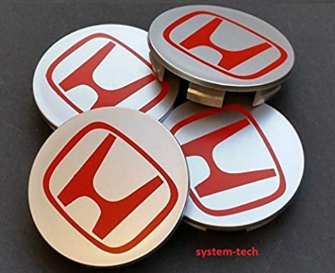 Set of 4 HONDA Alloy Wheels Centre Hub Caps 68mm Cover SILVER GREY RED Logo Badge ACCORD CIVIC TYPE R GT SPORT 2.0 i-VTEC Turbo EP3 FN2 and other