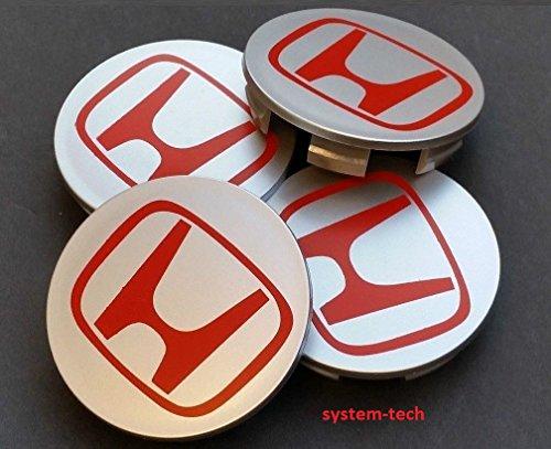 Honda, Nabenkappen für Leichtmetallfelgen, 68mm, silbergraues und rotes Logo, 4er-Set (Radkappen Honda Civic)