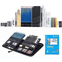 H&B Lápices de bocetos de Set Kit de dibujo de artistas en caja de cremallera con boceto, todos los accesorios diversos y de arte para su pintura (48 Piezas Advanced Pack).