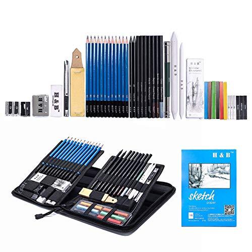 H&B 48pcs Skizzierstifte Bleistifte Set Künstler Zeichnen Zubehöre Kit Skizzieren Zeichnen und...