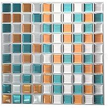Tile & Adhesivo 3d gel efecto mosaico alta calidad imitan metal plateado, las fronteras y paredes de forma de ladrillo mosaico Hoja