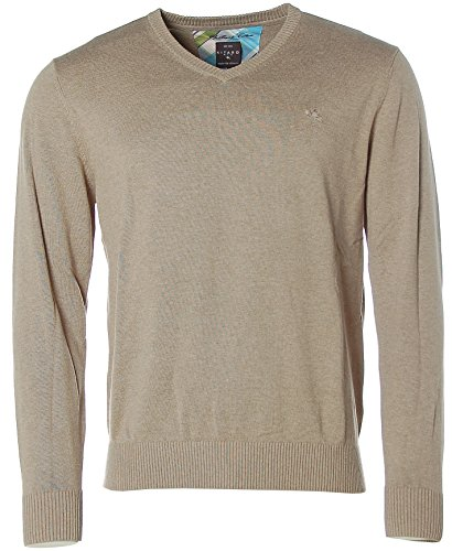 Kitaro Herren Pullover Strick V-Ausschnitt Brilliant Cotton Simple Taupe melange