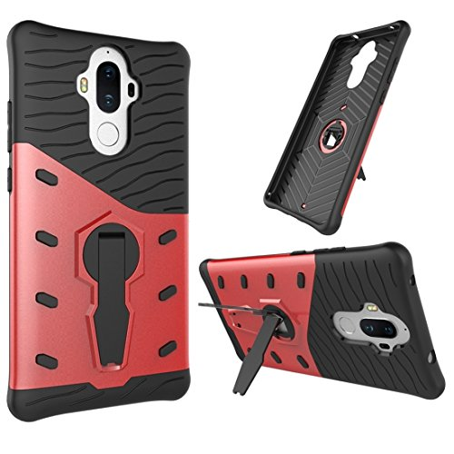 Huawei Mate 9 Hülle Schock-resistent 360 Grad Spin Sniper Hybrid Case TPU + PC Kombination Fall mit Halter für Huawei Mate 9 Fall by diebelleu ( Color : Black ) Red