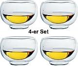 1aTTack.de 833444 Trink/Thermo-Glas 100 ml doppelwandig Modell Nils für Heiß- und Kaltgetränke, 4-Stück