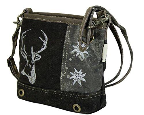 Domelo Tracht Damen Trachtentasche Dirndltasche Vintage Tasche Umhängetasche Schultertasche aus Canvas und Leder mit Hirsch und Edelweiß 53044