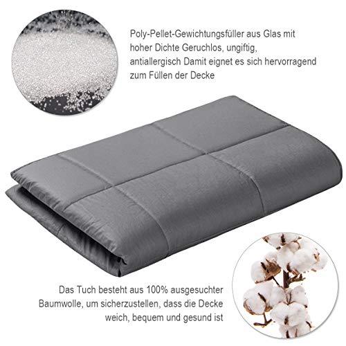 COSTWAY Gewichtsdecke für Erwachsene und Kinder | Schwere Decke Baumwolle | Weighted Blanket Grau (104 x 153 cm, 3) - 6