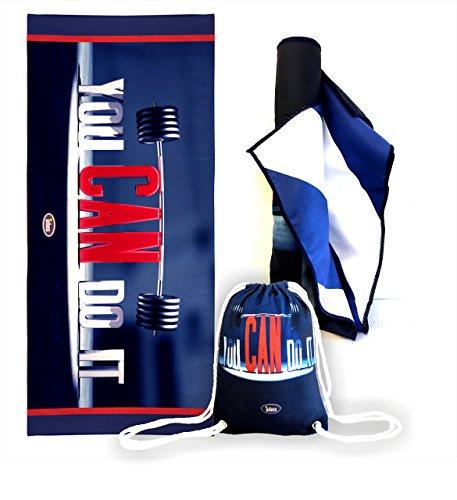 [oferta limitada] microfibra toalla grande 160 x 80 cm + cordón bolsa de deporte, yoga, toalla de playa y viajes. Un regalo perfecto tema. 100% garantía de satisfacción.