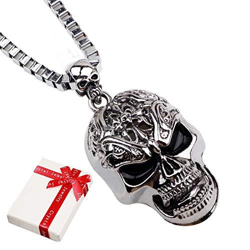 cholinchin Schmuck Edelstahl Totenkopf Skull Kette mit Anhänger,Punk Rock Schmuck Schädel Halskette Totenkopf Schädel Anhänger Biker Gotik mit 60cm Kette für Herren Mann,Silber