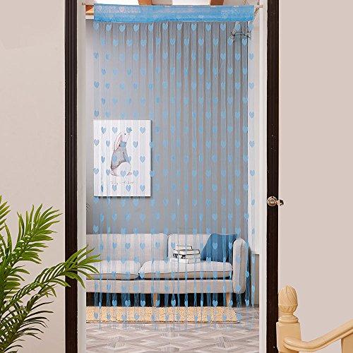 Vorhang,Quaste Herzlinie String Vorhang Für Wohnzimmer Fenster,Fenster vorhang, Bildschirm,Hintergrund Vorhang,Tür Teiler Gardinen Hause Hochzeits Dekoration,78.74*19.68zoll,1 Stück (Blau) (Vorhang-bildschirm)