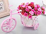 #4: Tied Ribbons Tricycle Shape Flower Vase with Artificial Flower Bunch for Office Desk Home Living Room Bedroom Décor & Gift