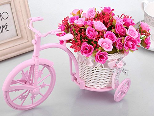 Tied Ribbons Tricycle Shape Flower Vase with Artificial Flower Bunch for Office...