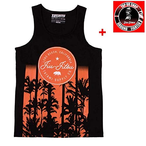 Tatami Tank Top California - Sport Freizeit Gym Lifestyle Shirt Tank Top Herren Jiu Jitsu Grappling Kampfsport Jersey Top - - Bundle mit Jiu Jitsu Sticker (M)