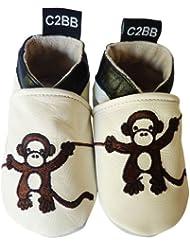 C2BB - Chaussons bebe cuir souple garçon   Petit chimpanzé