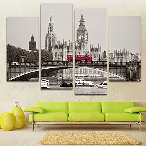 ZUMOOY Wohnzimmer Wandkunst Bilder HD Gedruckt Malerei 4 Panel London Red Bus Und Gebäude Ansicht Moderne Wohnkultur Poster @ 20x40 20x60 cm mit Rahmen - Ansicht 16x20 Foto
