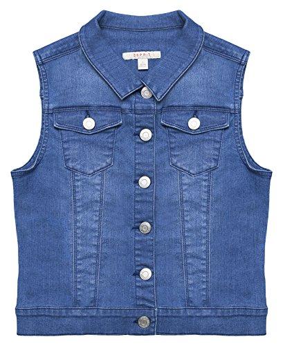 ESPRIT Kids Mädchen Weste RL4800501, Blau (Medium Wash Denim 463), 164 (Herstellergröße: L)
