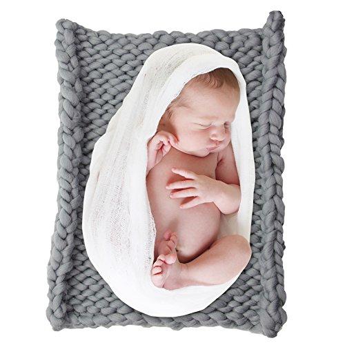 DrCosy Riesigen Stricken Dicke Garn Ddecke Sperrige Gestrickte Werfen Pet Bett Neugeborenen DIY Fotografie Decorator Stuhl Sofa Baby-Foto mat teppich 50 cm * 50 cm (Werfen Thermische)