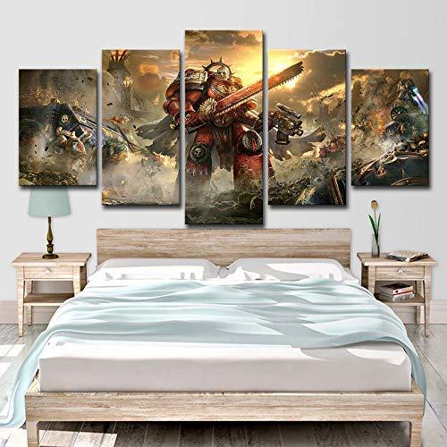 FBHLIN Leinwand 5 Panel Malerei Wandbild Kunstwerk Warhammer Ewige Expedition Muster Druck Auf Leinwand Kunst Leinwand Home Decoration, 12X18 / 24/30 Zoll -