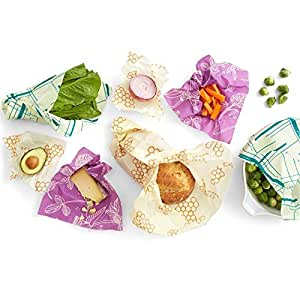 Bee's Wrap Sustainable Reusable Food Storage Variety Pack (2 Small, 2 Medium, 2 Large, 1 Bread)
