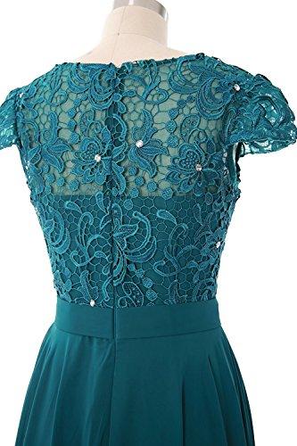 Beonddress Damen Spitze und Chiffon Brautjunfer Kleid Rüschen Kurz Abschlussball AbendKleid Türkis