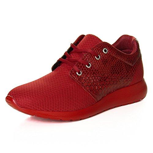 Herren Low Top Sneaker Schuhe Kunst Leder Snake Skin Sport Style 111 Rot
