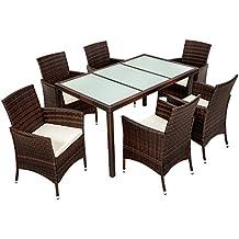 TecTake Poly Ratán sintético Conjunto de Muebles de jardín Comedor Juego Mesa Silla 6+1 negro marrón