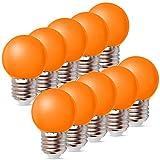 10per-pack Farbige Leuchtmittel LED 1W E27 G45 Birne Beleuchtung Glühbirne Leuchtmittel für Partybeleu chtung Biergartenbeleu chtung (Orange)
