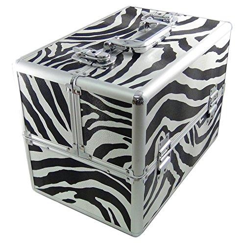 DynaSun BS355 XXL Zebra Boîtier de Beauté Coffret Mallette Designer Valise Voyage Cosmétique Maquillage Coiffure Bijoux avec clés