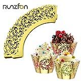 Romote 50pcs Gold-Muffin-Schalen-Kuchen-Verpackungs-Kasten Tabletts Partei Liner Dekoration