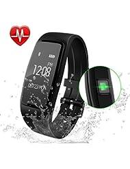GULAKI Fitness Tracker Pulsera Inteligente Monitor de Pulso Cardiaco Bluetooth Pulsera Inteligente Deporte Actividad Tracker con Contador de Calorias/Monitor de Sueño/Contador de Pasos/Reloj,Compatibl (Black)