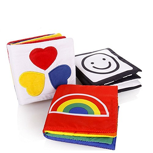 Gearmax Pequeño Bebé Libro de paño, Tejido Blando Papel del Bebé Educación Temprana y Desarrollo de Juguete (Conjunto de 3 Libros)