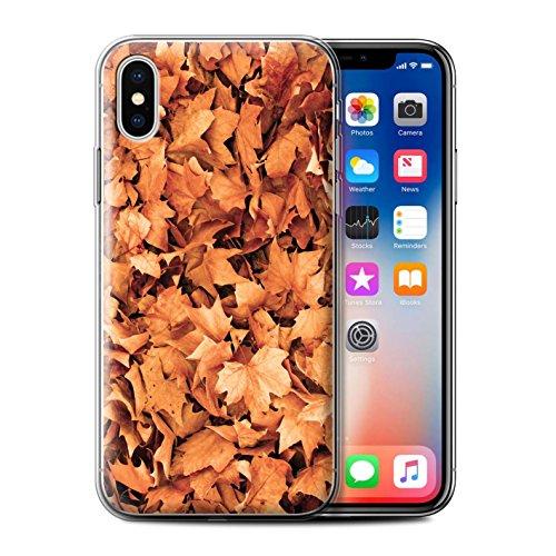 Stuff4 Gel TPU Hülle / Case für Apple iPhone X/10 / Gemischt/Violett Muster / Herbstblätter Kollektion Sykomore/Golden